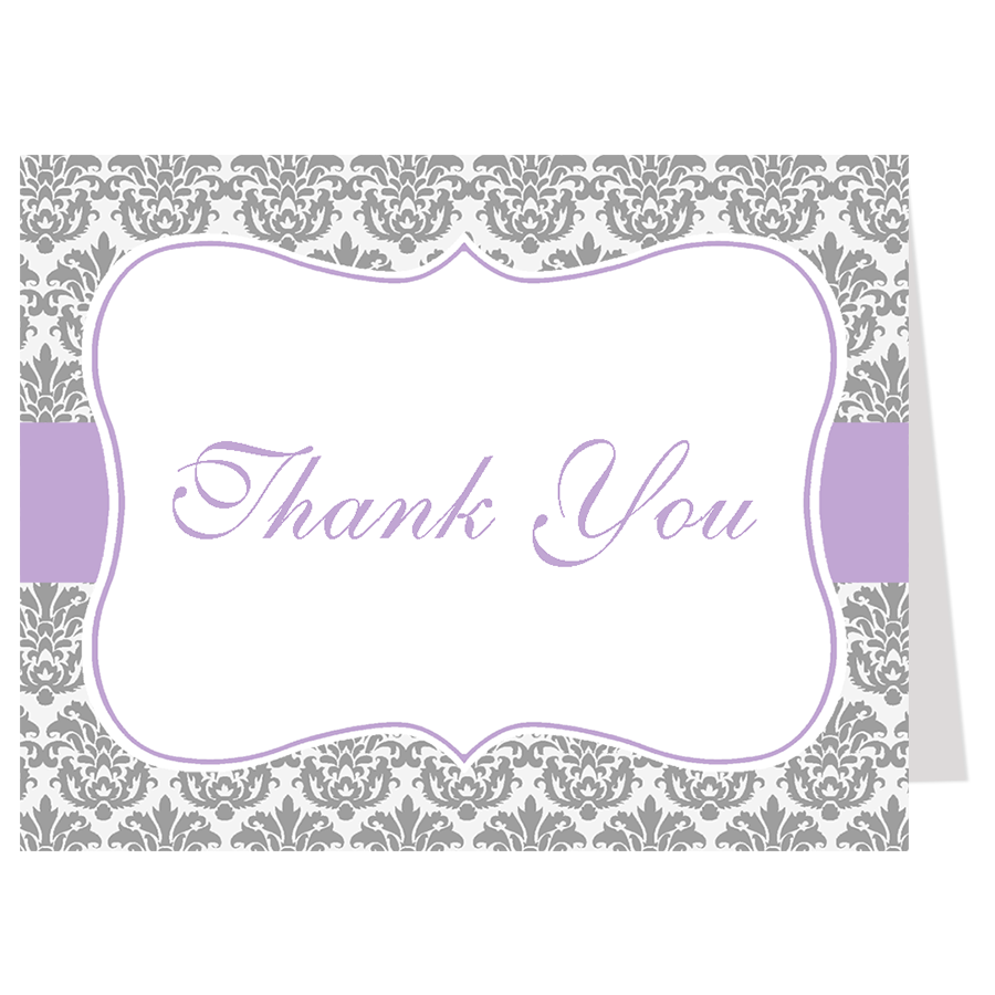 Damask Baby Shower, Purple, Thank You Card