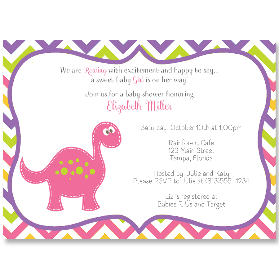 Dino Baby Pink Shower Invitation – The Invite Lady