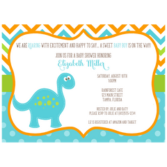 Dino Baby Blue Shower Invitation