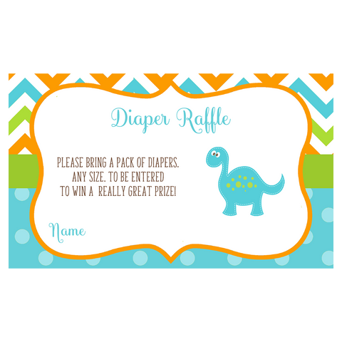 Dino Baby Blue Diaper Raffle Ticket