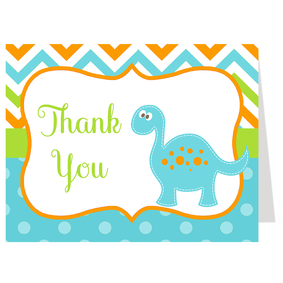 Dino Baby Blue Thank You Card