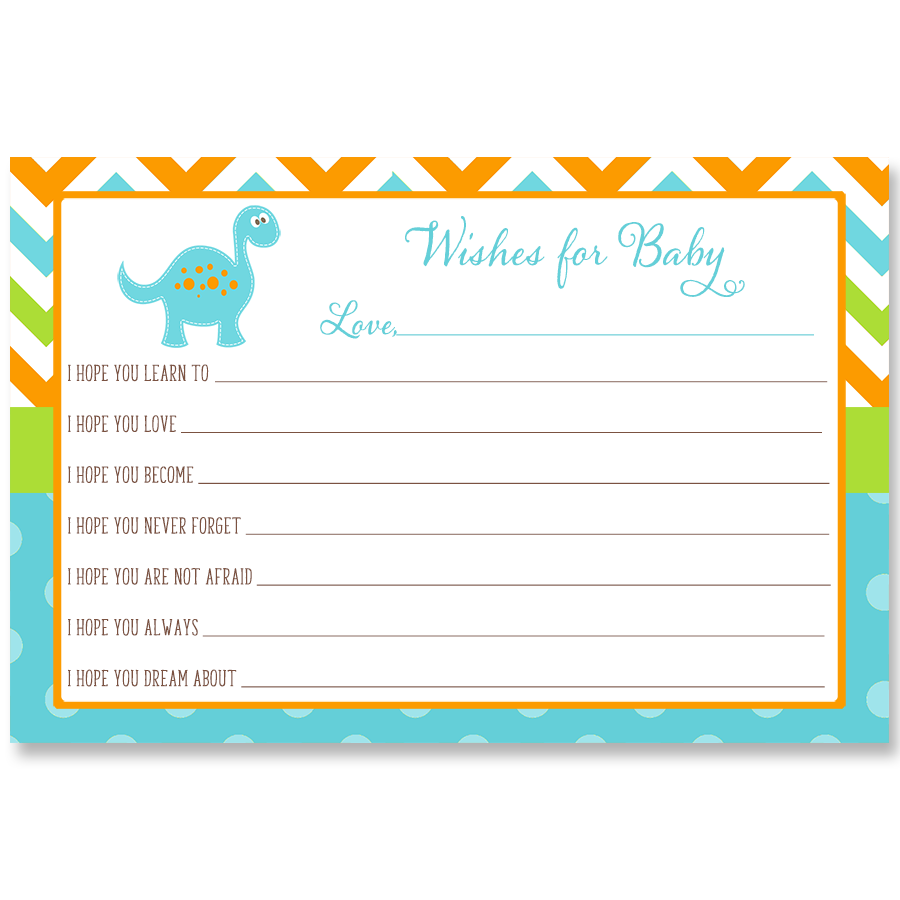 Dino Baby Blue Wishes Card