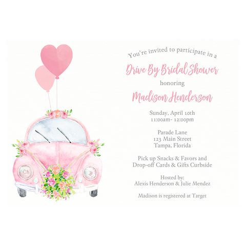 Drive By Bridal Shower Invitation