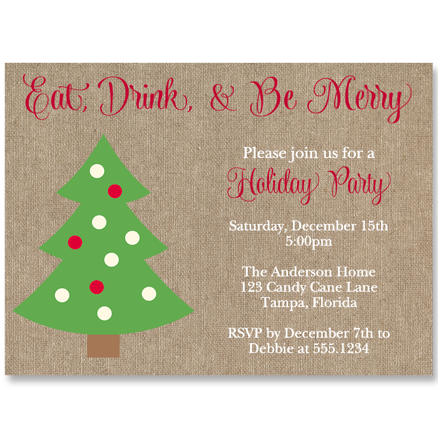 Eat Drink Be Merry Holiday Party Invitation