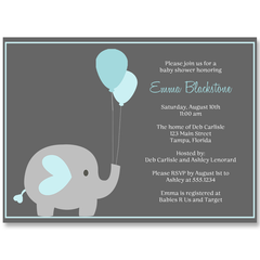 Elephant Balloon, Blue, Baby Shower Invitation