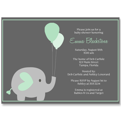 Elephant Balloon, Mint, Baby Shower Invitation