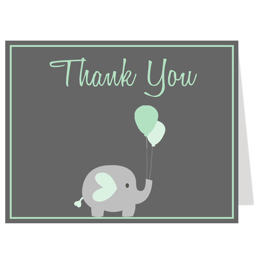 Elephant Balloon, Mint, Thank You Card