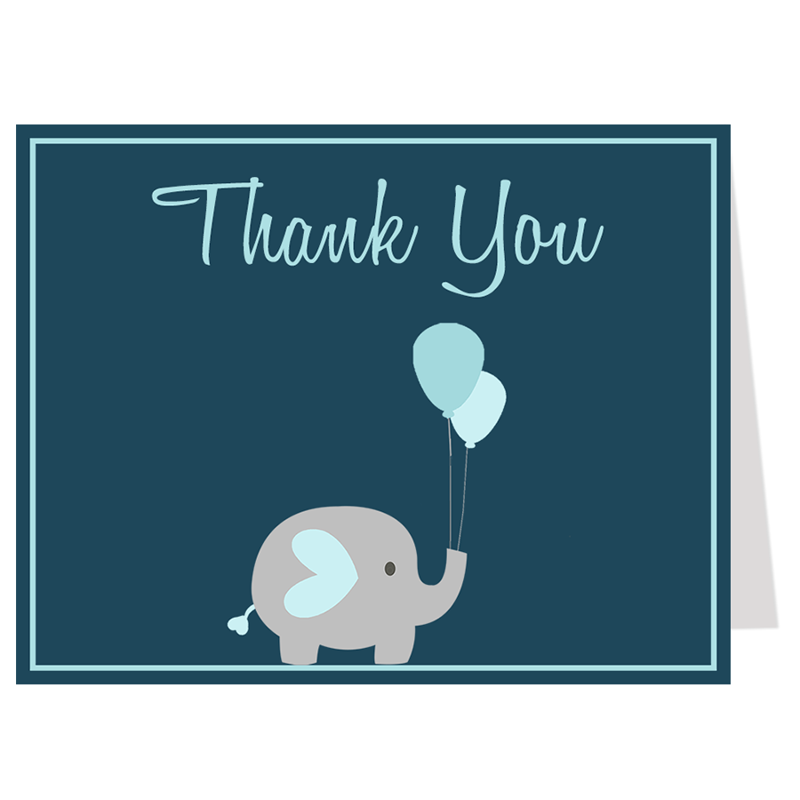 Elephant Balloon, Navy, Thank You Card