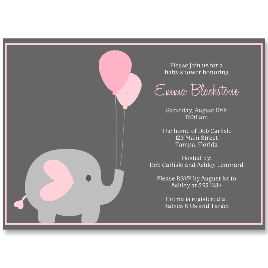 Elephant Balloon, Pink, Baby Shower Invitation