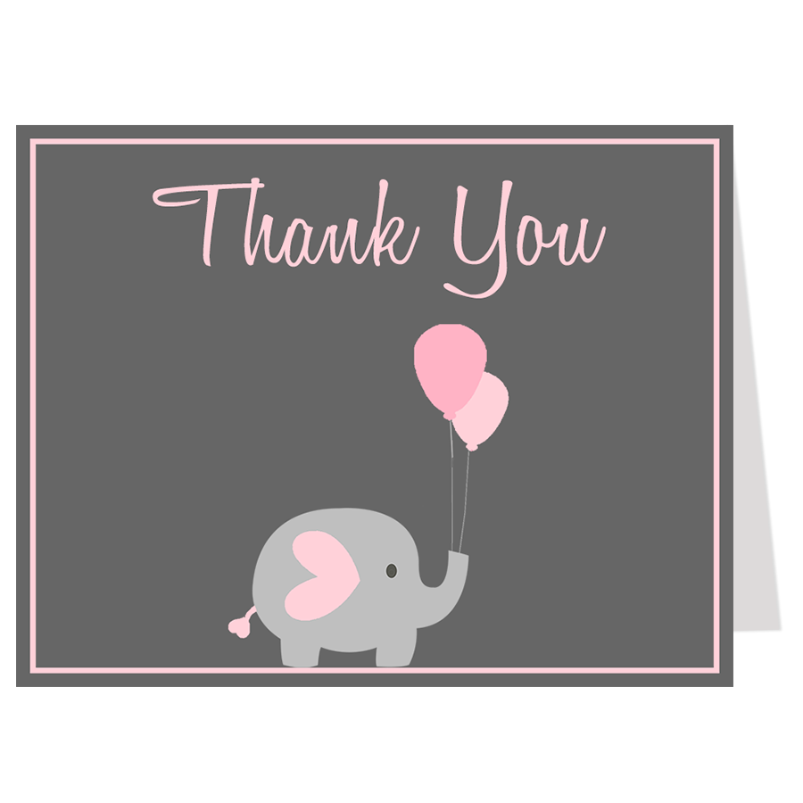 Elephant Balloon, Pink, Thank You Card