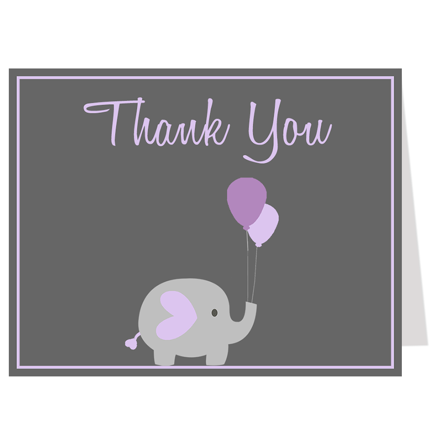 Elephant Balloon, Purple, Thank You Card