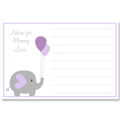 Elephant Balloon, Purple, Baby Shower Invitation
