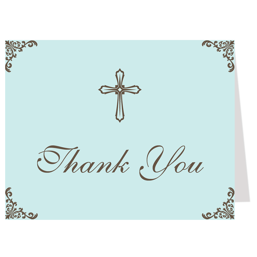 Embellished Corners, Blue, Thank You Card