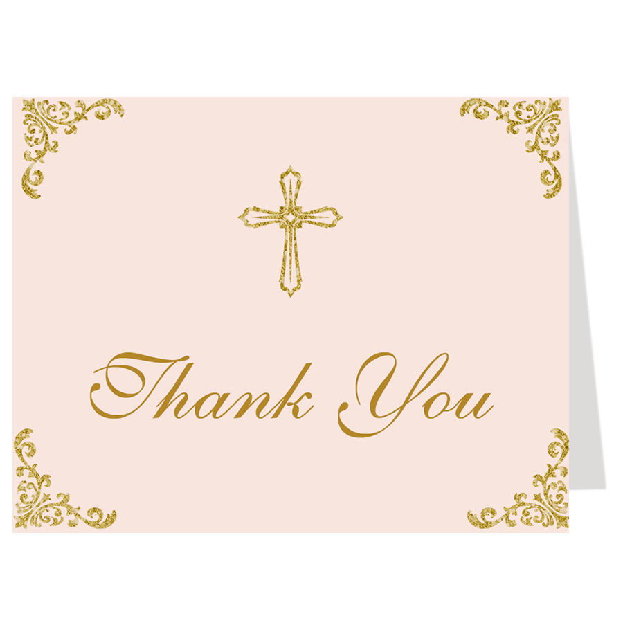 Embellished Corners, Pink and Gold, Thank You Card