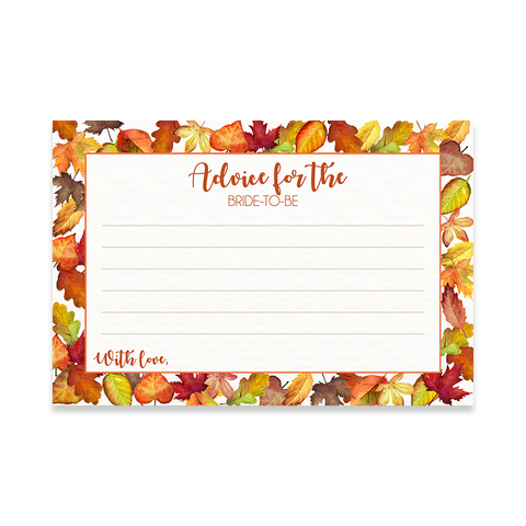 Falling for Autumn Bridal Shower Advice Card