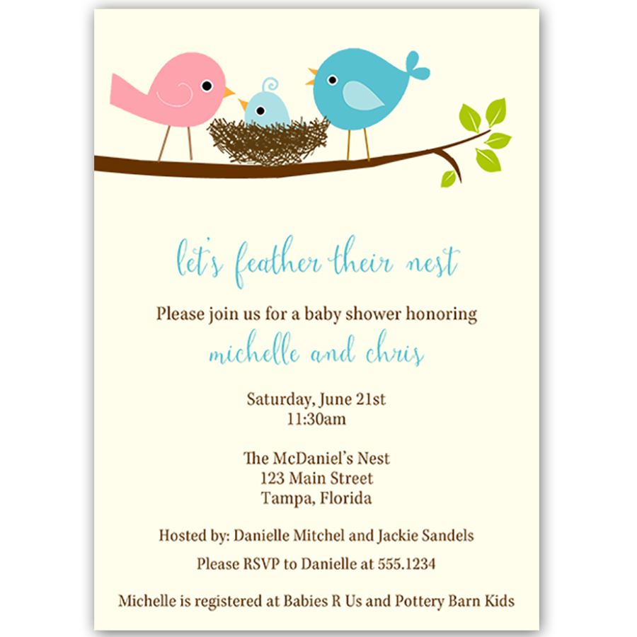 Feather Their Nest Blue Baby Shower Invitation