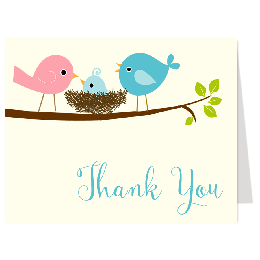 Feather Their Nest Blue Thank You Card