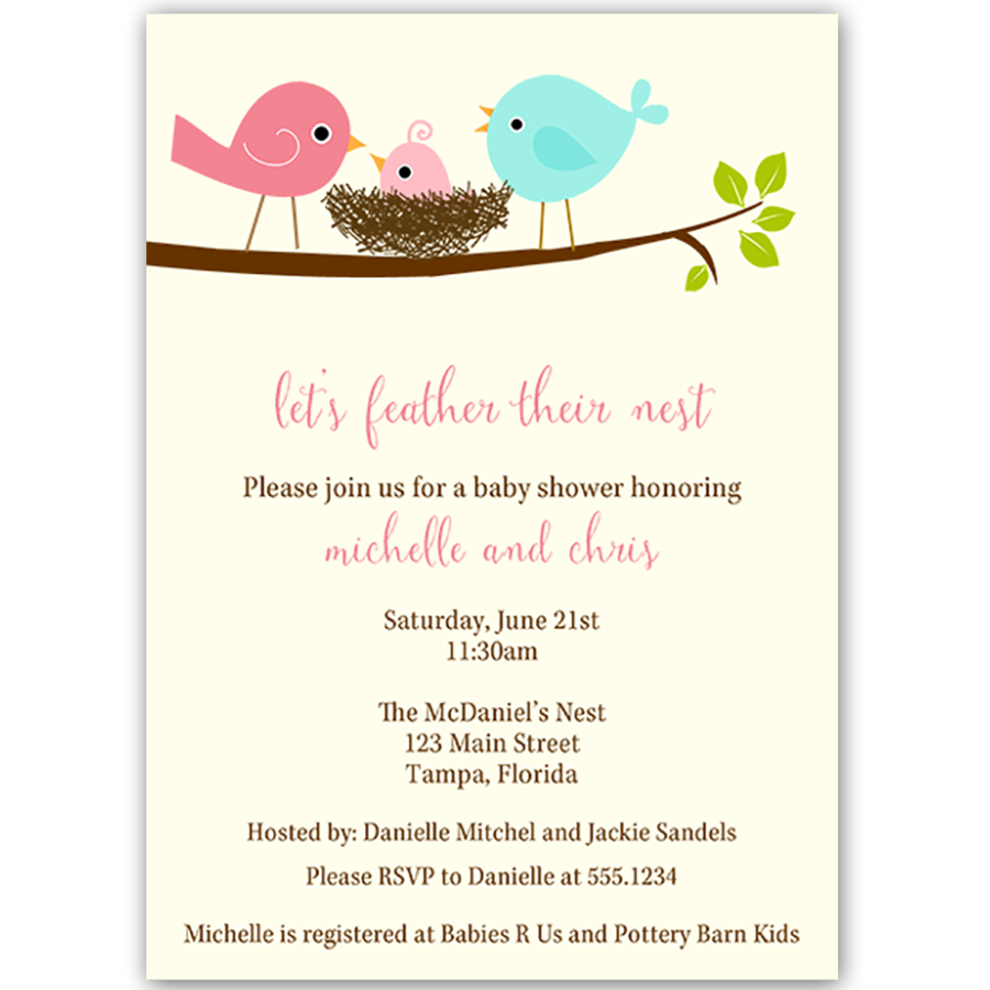 Feather Their Nest Pink Baby Shower Invitation