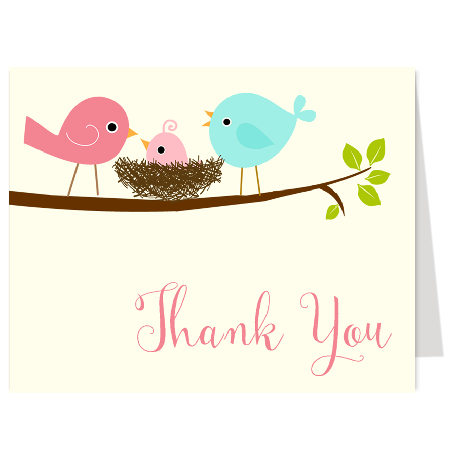 Feather Their Nest Pink Thank You Card