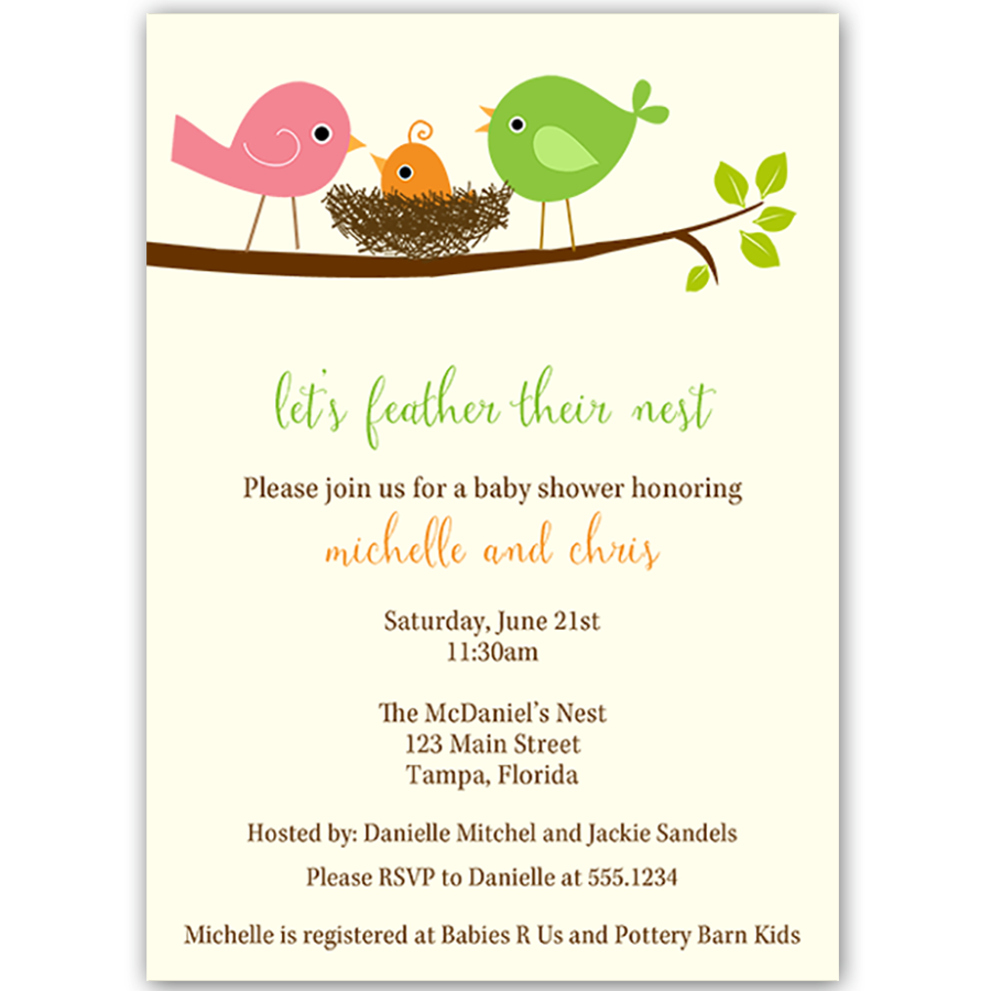 Feather Their Nest Green Baby Shower Invitation – The Invite Lady