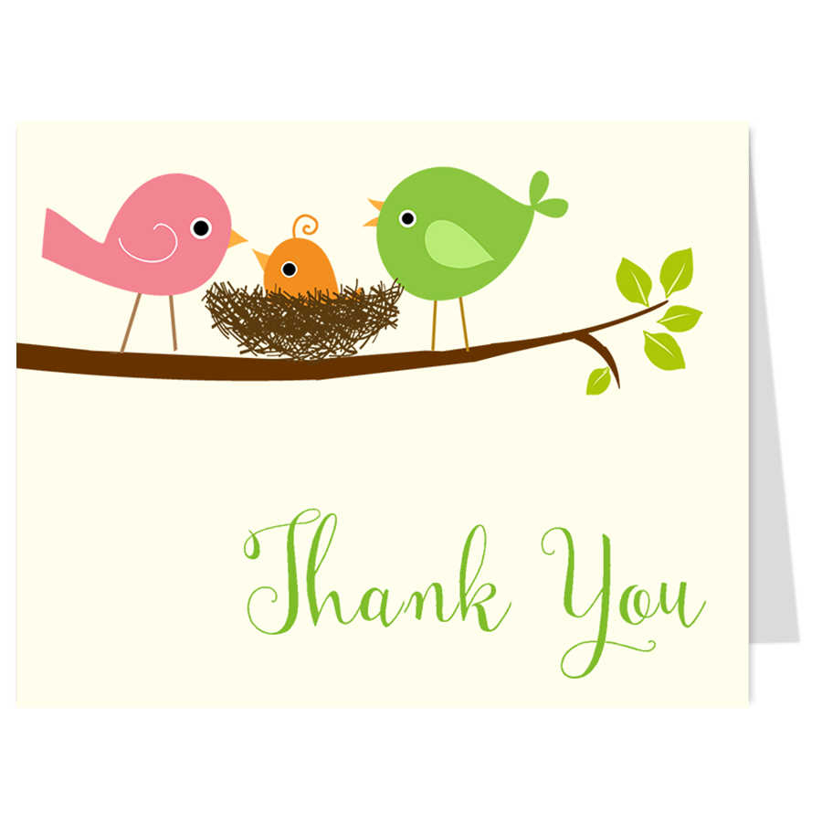 Feather Their Nest Green Thank You Card