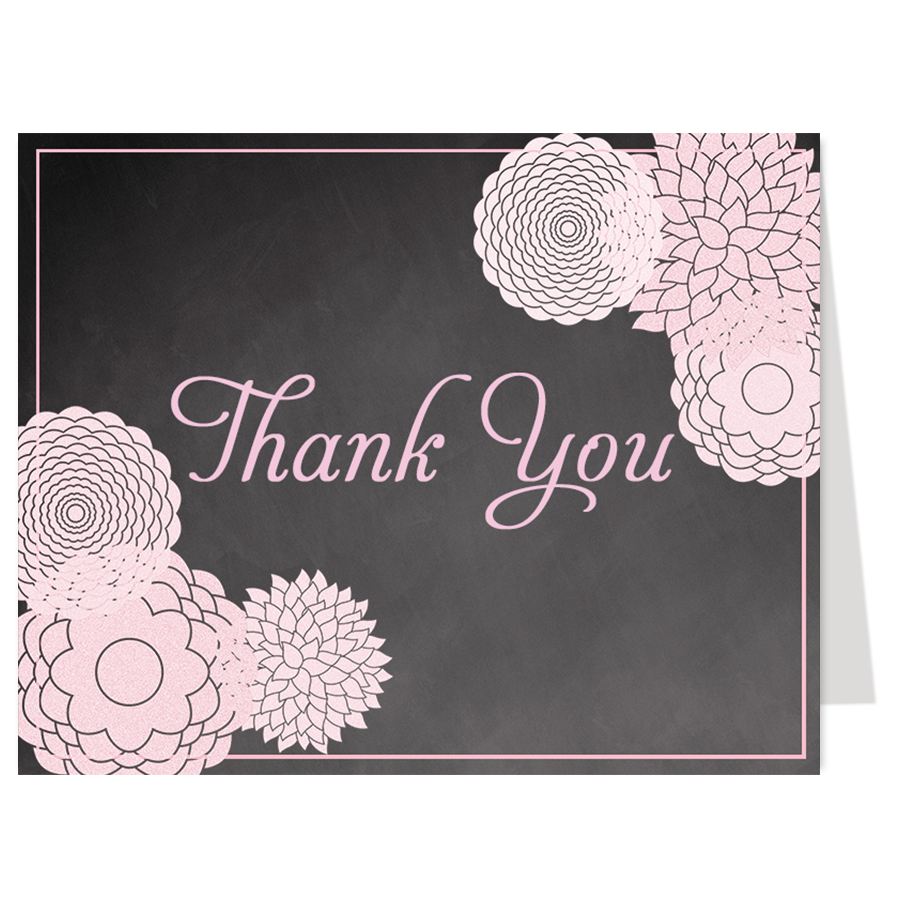 Chalkboard Floral Cross Thank You Card
