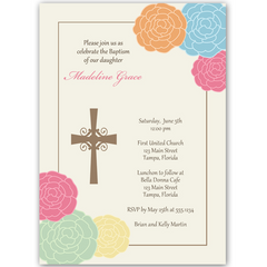 Floral Cross Baptism Invitation