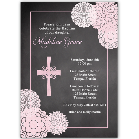 Chalkboard Floral Cross Baptism Invitation