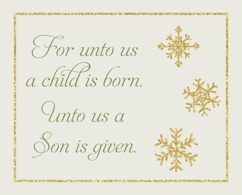Religious Christmas Cards For Unto Us A Child Is Born A Son Is Given Biblical Scripture Bible Verse Christian Merry Christmas Baby Jesus Reason for the Season Gold Snowflakes Christians (24 count)