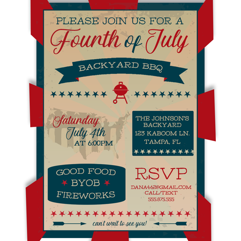 Vintage Fourth of July BBQ Invitation