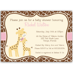 Gentle Giraffe Pink Baby Shower Invitation