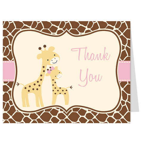 Gentle Giraffe Pink Thank You Card