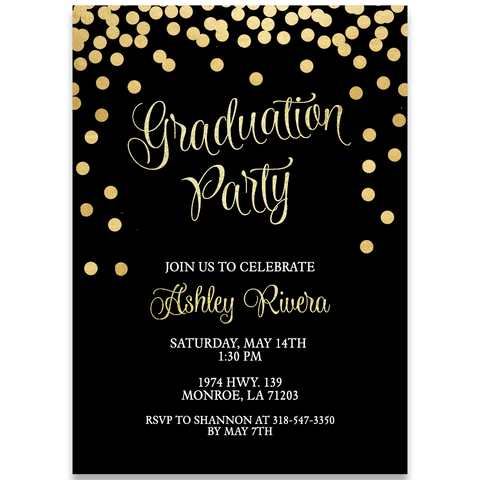 Glitter and Gold Graduation Party Invitation