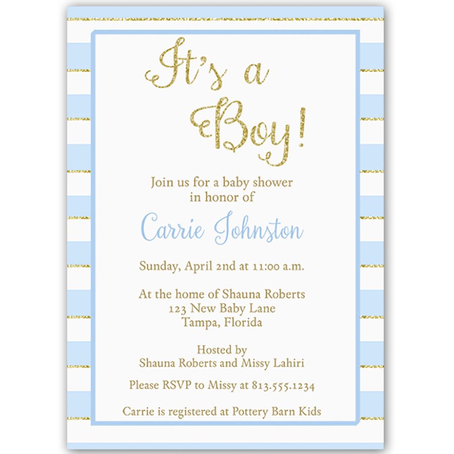 Glitter and Gold Blue Striped Baby Shower Invitation