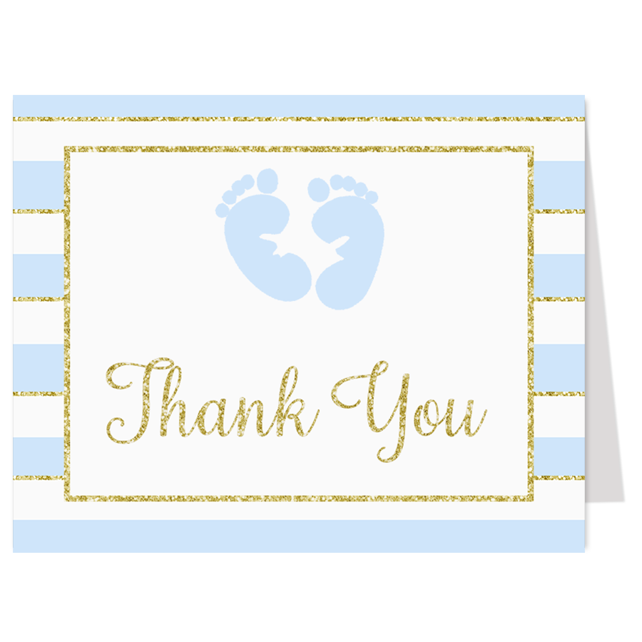 Glittering Stripes Blue Thank You Card