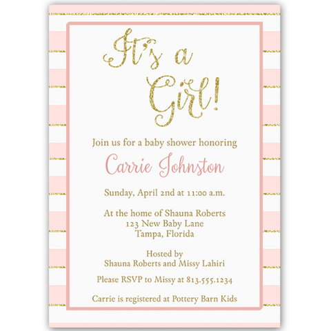 Glittering Stripes Pink Baby Shower Invitation