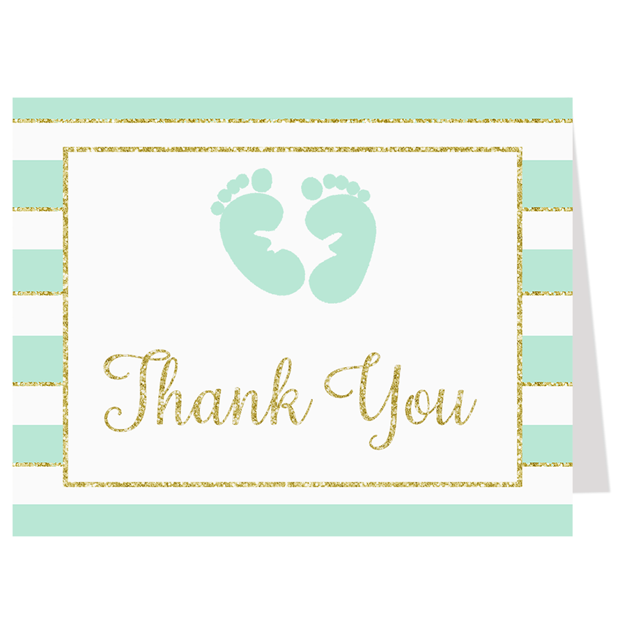 Glittering Stripes Mint Thank You Card