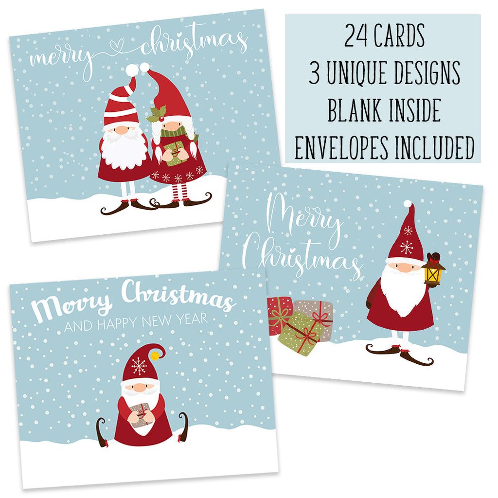 Gnome Christmas Holiday Folding Cards
