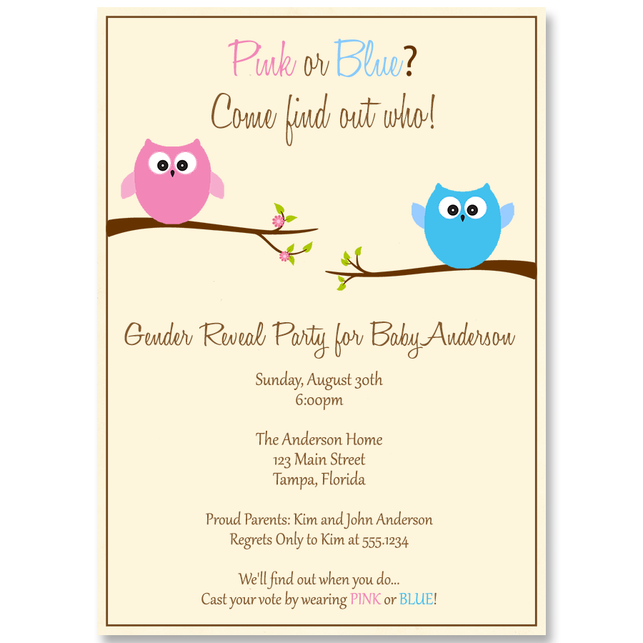 Guess Whoo\'s Having a Baby Gender Reveal Party Invitation – The ...