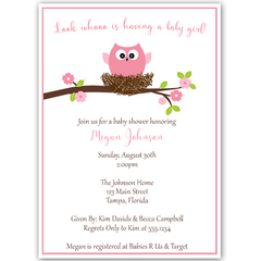 Guess Whoo's Having a Baby Pink Baby Shower Invitation