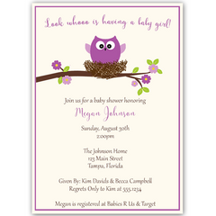 Guess Whoo's Having a Baby Purple Baby Shower Invitation