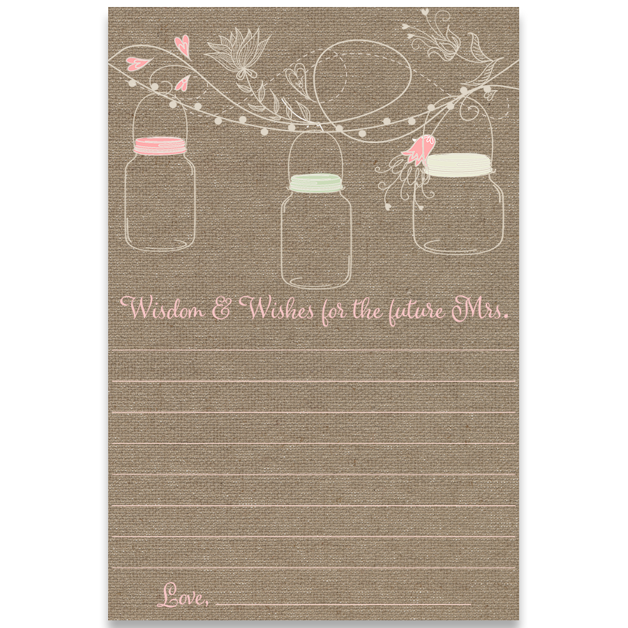 Hanging Mason Jar Advice for the Bride Card