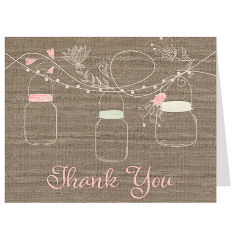 Hanging Mason Jars Thank You Card