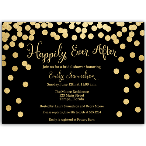 Happily Ever After Black And Gold Bridal Shower Invitation