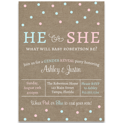 He or She Burlap Gender Reveal Party Invitation