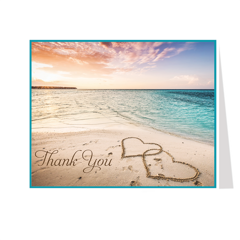 Hearts of Love Beach Bridal Thank You Card