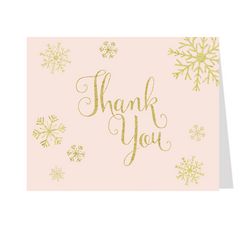 Winter Here Comes the Bride Gold Thank You Card
