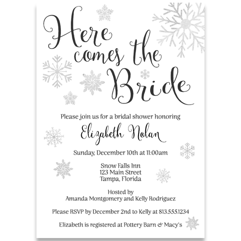 Winter Here Come's the Bride White Bridal Shower Invitation