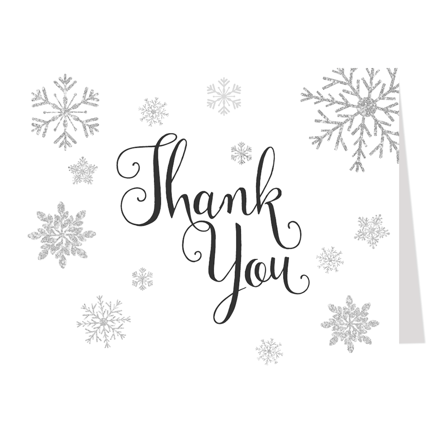 Winter Here Come's the Bride White Thank You Card