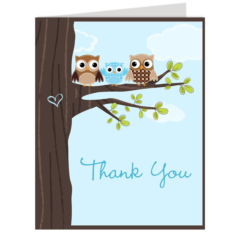 Hootin' Tree Blue Thank You Card